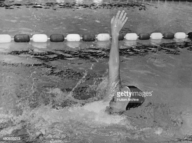 Sixteen yearold Scottish swimmer Louise Campbell in the pool during training for the the 100 and 200 metres backstroke events at the British Empire...