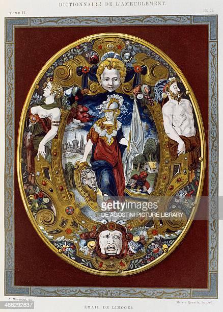 Sixteenth century Limoges enamel illustration from the Dictionnaire de l'ameublement et de la decoration XIIIth depuis le siecle jusqu'a nos jours...