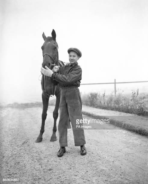 Sixteenyearold jockey LESTER PIGGOTT pictured with TEREK after a ride near his home at Lambourn Berkshire Piggott broke a leg when No Light fell with...