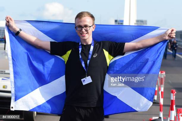 Sixteenyearold Morgan LewisWilson from Longniddry the first person across the southbound side of the new Queensferry Crossing after taking part in a...