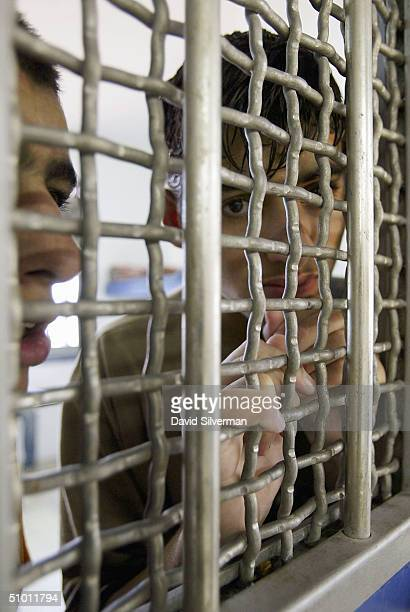Sixteenyearold Palestinian youths look through the bars of their shared cell at Rimonim Prison where they are serving a sentence for throwing stones...