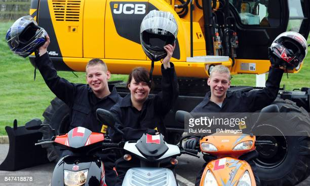 Sixteenyearold triplets Jack Katie and Liam Rowe who live in Dane Grove Cheadle Staffs as they arrive for work as apprentice welders at the JCB Heavy...