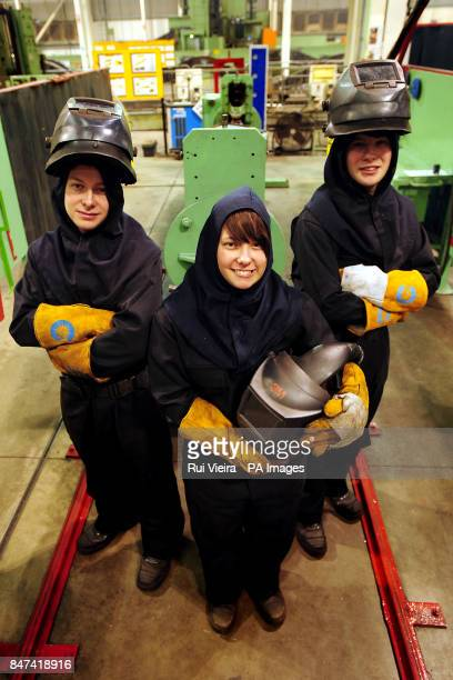 Sixteenyearold triplets Liam Katie and Jack Rowe who live in Dane Grove Cheadle Staffs have started work as apprentice welders at the JCB Heavy...