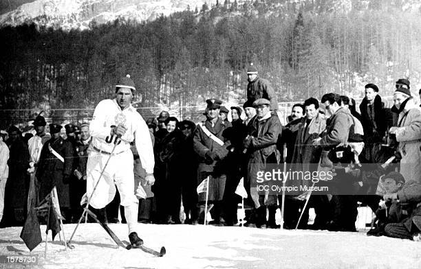 Sixten Jernberg of Sweden in action at the 1956 Winter Games in Cortina d/Ampezzo Jernberg is the supreme Nordic Skier winner of a record nine...