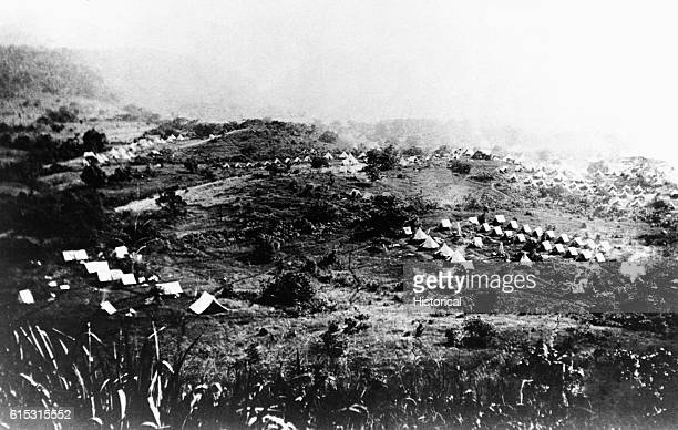 Sixth and Ninth Cavalry camp in Cuba during Spanish-American War. 1898.