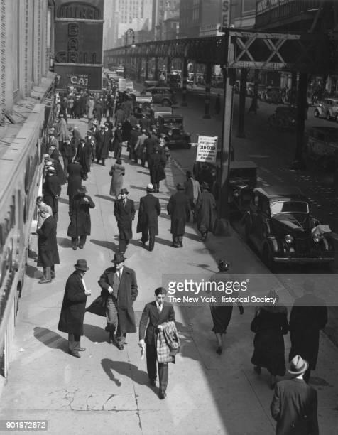 Sixth Avenue near 42nd Street, Willard Bar & Grill sign, elevated railroad, New York, New York, 1929.