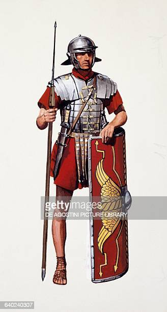 Sixth century BC Roman soldier in uniform armed with a spear and shield drawing