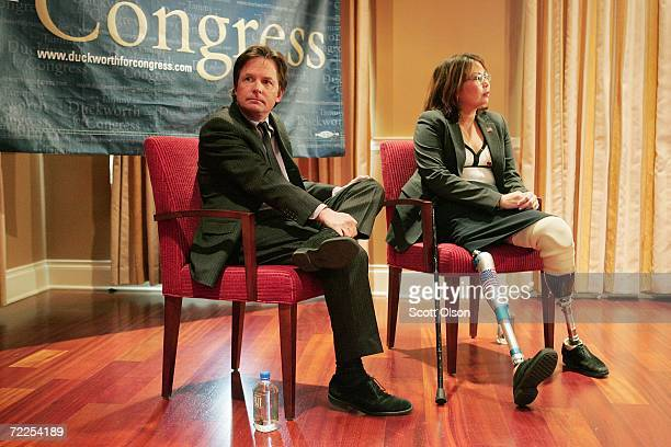 Sixth congressional district Democratic Candidate Tammy Duckworth and actor and activist Michael J Fox attend a Duckworth campaign event October 24...