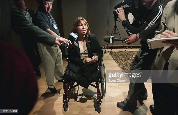 Sixth congressional district Democratic candidate Tammy Duckworth speaks to reporters following a debate with her Republican opponent October 19 2006...
