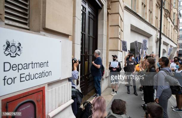 Sixth form students protest against the downgrading of A-level results on August 14, 2020 in London, England.