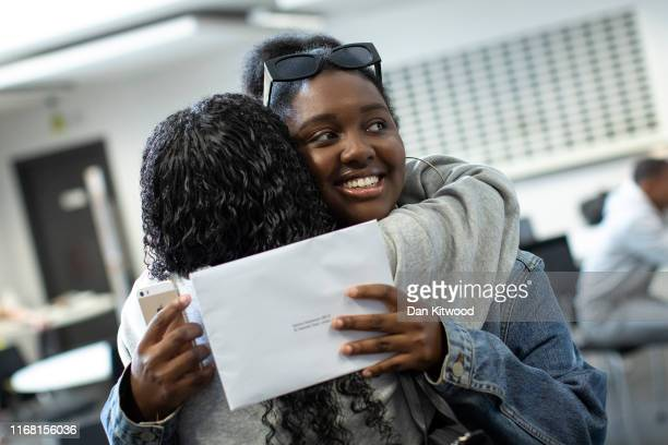 Sixth form students receive their ALevel results at Stoke Newington School on August 15 2016 in London England Over 300000 teenagers are getting the...