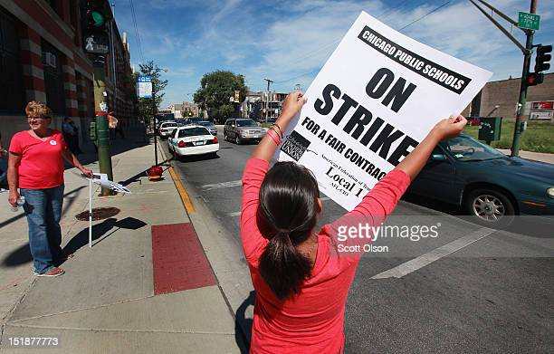 Sixth grade Chicago public school student Natalia Segal joins the picket line outside of Marshall High School on September 12 2012 in Chicago...