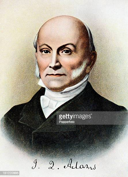 Sixth president of the United States John Quincy Adams featured on a vintage colour postcard published circa 1900 Adams served as president of the...