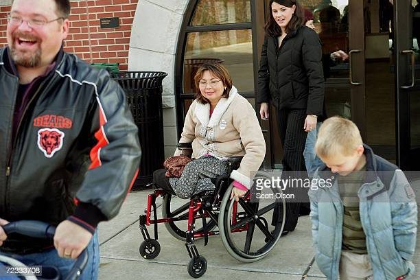 Sixth US Congressional District Democratic candidate Tammy Duckworth campaigns at a commuter train station November 1 2006 in Wheaton Illinois...