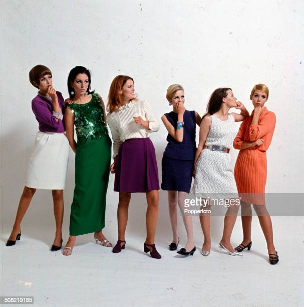 Sixties Fashion A group of six young female models including Twiggy 4th from left wear a selection of dresses skirts and tops in various colours and...