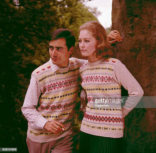 Sixties Fashion A young couple including model Jenny Hanley pose together wearing matching Fair Isle style jumper and tank top circa 1965