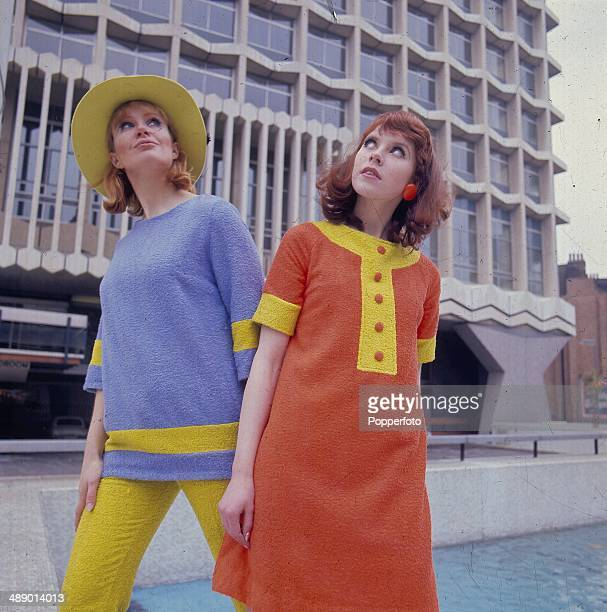Sixties Fashion Two young models wear towelling fashions in front of the Centre Point building in London in 1967