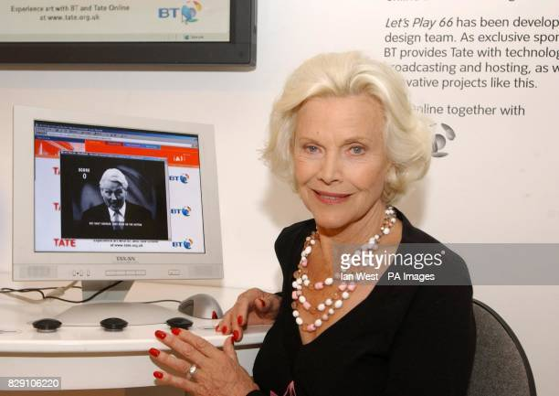 Sixties icon and actress Honor Blackman poses for photographers during the launch of 'Let's Play 66' an online 60s quiz designed to test your...