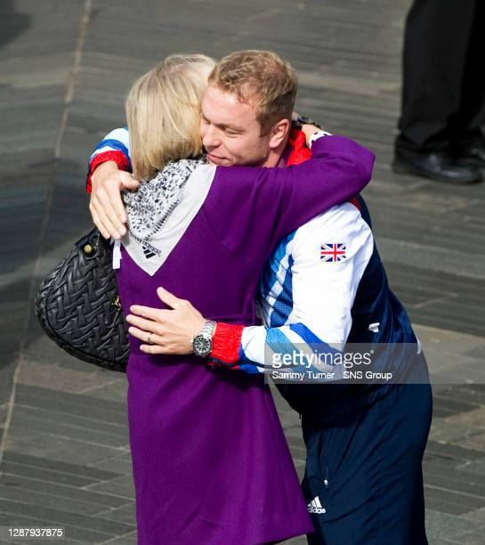 Six-time Olympic gold medailist Sir Chris Hoy with his mother Carol.