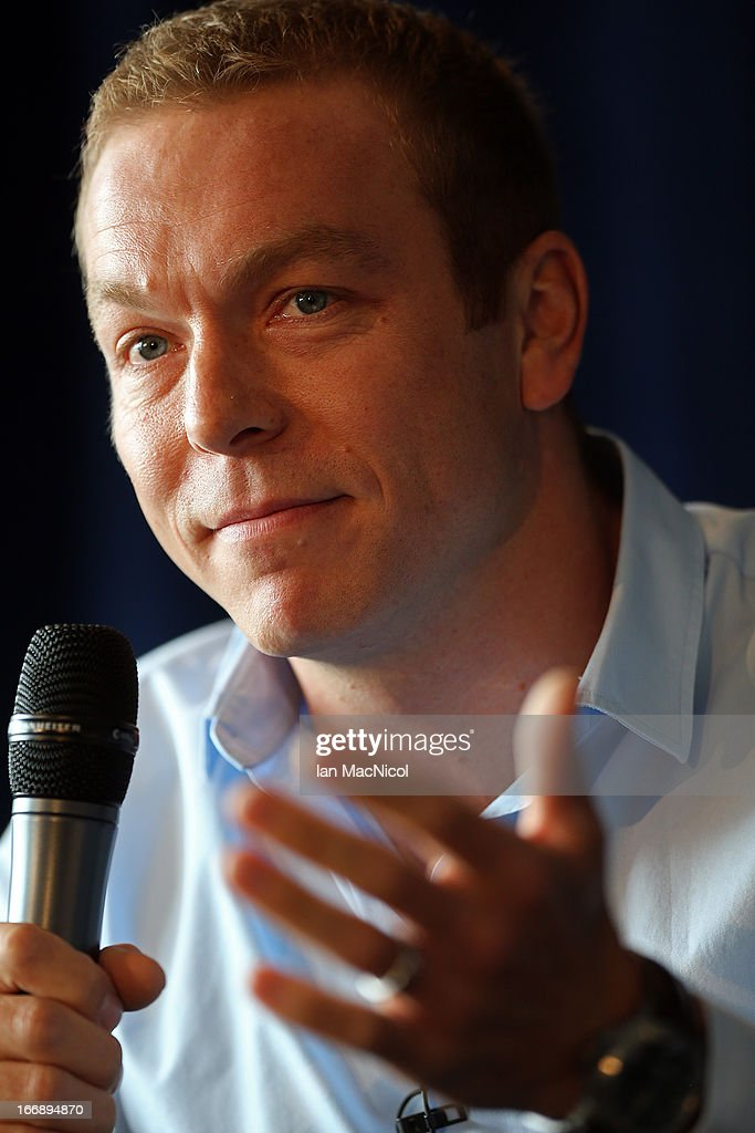 Six-time Olympic gold medallist Sir Chris Hoy speaks to members of the media as he announces his retirement at a press conference at Murrayfield stadium on April 18, 2013 in Edinburgh, Scotland.