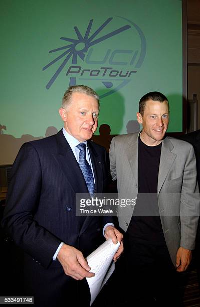 Sixtime Tour de France winner Lance Armstrong and Hein Verbruggen president of the International Cycling Union attend the launch of the Cycling Pro...