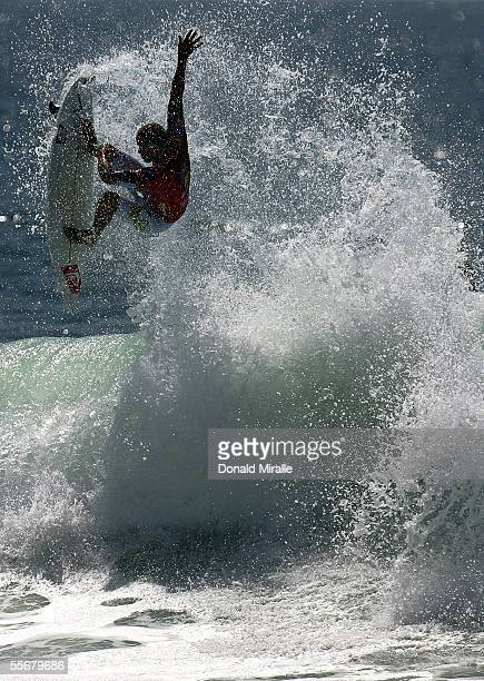 Six-Time World Champion Kelly Slater launches an aerial off the lip of a wave during the 3rd Round of the Boost Mobile Pro, Part of the Foster's ASP...