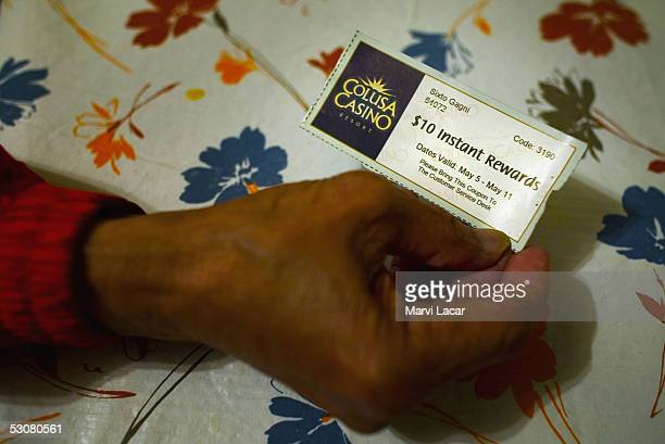 Sixto Gagni holds an instant reward coupon that he will use at a northern California casino May 4 2005 in San Francisco Many veterans go to the...