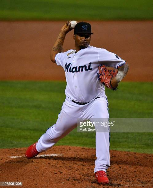 Sixto Sanchez of the Miami Marlins delivers a pitch against the Washington Nationals at Marlins Park on September 18, 2020 in Miami, Florida.