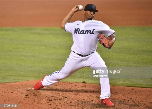 Sixto Sanchez of the Miami Marlins delivers a pitch against the Toronto Blue Jays at Marlins Park on September 02, 2020 in Miami, Florida.