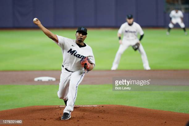 Sixto Sanchez of the Miami Marlins delivers a pitch during the first inning against the Atlanta Braves in Game Three of the National League Division...