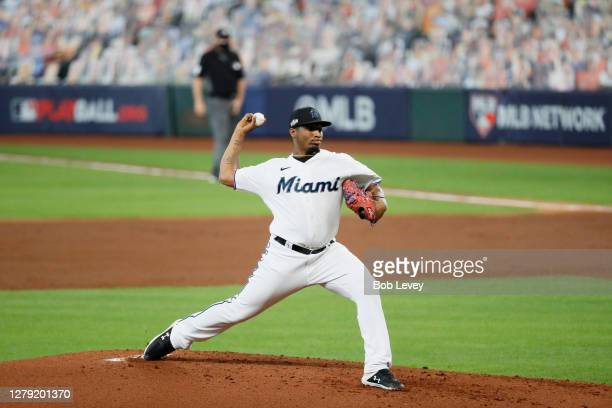 Sixto Sanchez of the Miami Marlins delivers a pitch during the second inning against the Atlanta Braves in Game Three of the National League Division...