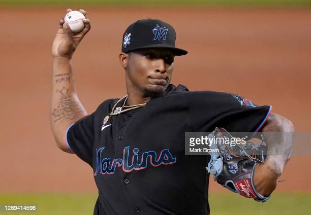 Sixto Sanchez of the Miami Marlins delivers a pitch in the first inning against the Tampa Bay Rays at Marlins Park on August 28, 2020 in Miami,...