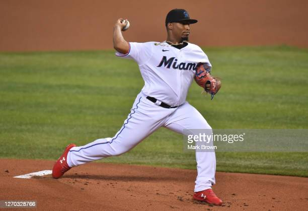 Sixto Sanchez of the Miami Marlins delivers a pitch in the first inning against the Toronto Blue Jays at Marlins Park on September 02, 2020 in Miami,...