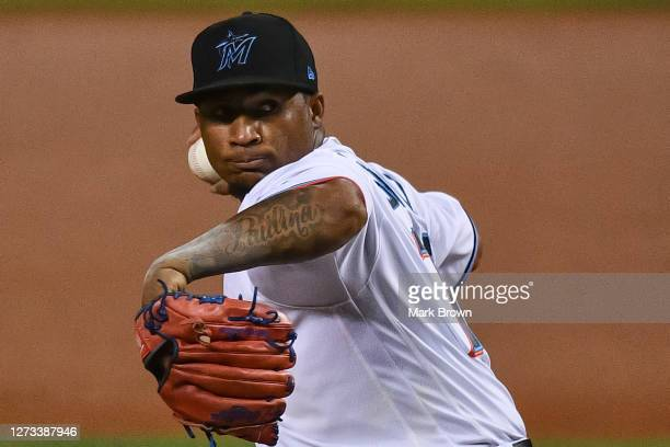 Sixto Sanchez of the Miami Marlins delivers a pitch in the first inning against the Washington Nationals at Marlins Park on September 18, 2020 in...
