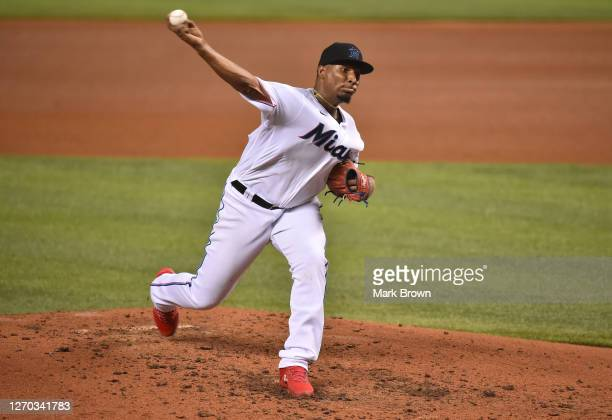 Sixto Sanchez of the Miami Marlins delivers a pitch in the sixth inning against the Toronto Blue Jays at Marlins Park on September 02, 2020 in Miami,...