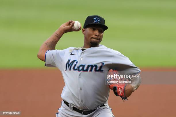 Sixto Sanchez of the Miami Marlins delivers during the first inning of a game against the Atlanta Braves at Truist Park on September 8, 2020 in...