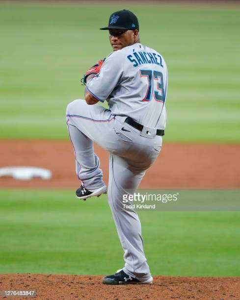 Sixto Sanchez of the Miami Marlins delivers the pitch in the first inning of an MLB game against the Atlanta Braves at Truist Park on September 23,...