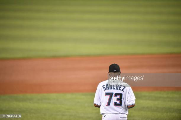 Sixto Sanchez of the Miami Marlins heads to the mound in the sixth inning against the Toronto Blue Jays at Marlins Park on September 02, 2020 in...