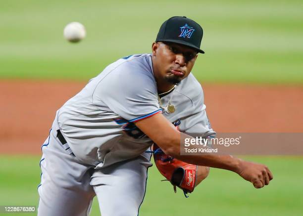 Sixto Sanchez of the Miami Marlins pitches in the first inning of an MLB game against the Atlanta Braves at Truist Park on September 23, 2020 in...