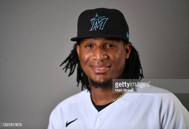 Sixto Sanchez of the Miami Marlins poses for a photo during Photo Day at Roger Dean Chevrolet Stadium on February 19, 2020 in Jupiter, Florida.