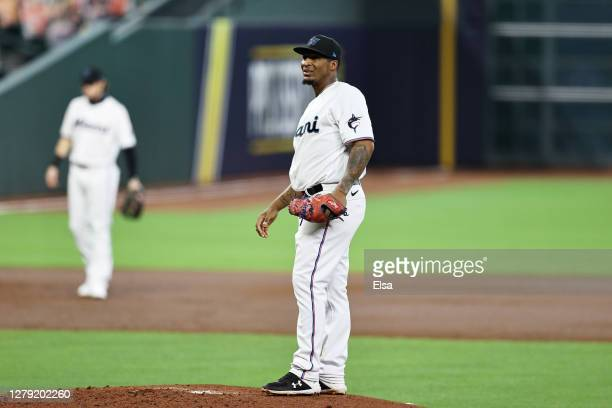 Sixto Sanchez of the Miami Marlins reacts after loading the bases during the second inning against the Atlanta Braves in Game Three of the National...