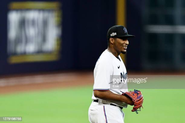Sixto Sanchez of the Miami Marlins reacts during the first inning against the Atlanta Braves in Game Three of the National League Division Series at...