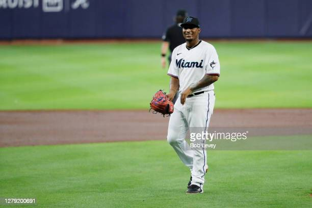 Sixto Sanchez of the Miami Marlins walks to the dugout during the first inning against the Atlanta Braves in Game Three of the National League...