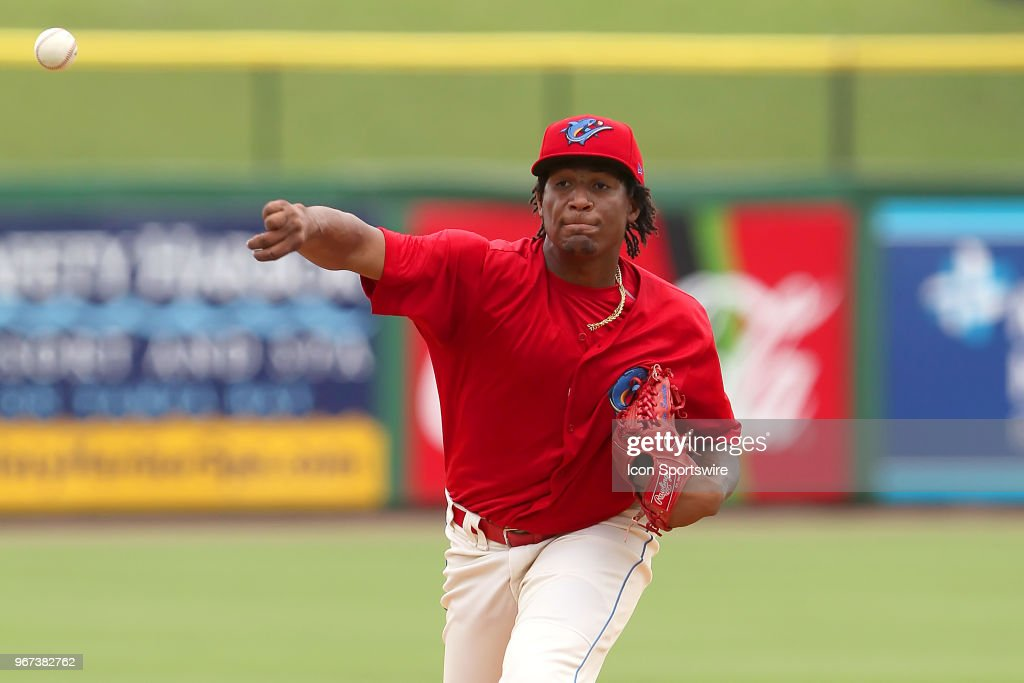 Sixto Sanchez (45) of the Threshers delivers a pitch to the plate during the Florida State League game between the Florida Fire Frogs and the Clearwater Threshers on June 03, 2018, at Spectrum Field in Clearwater, FL.