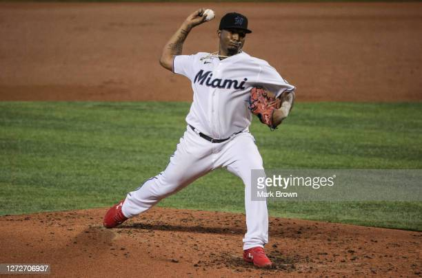 Sixto Sánchez of the Miami Marlins delivers a pitch in the first inning against the Philadelphia Phillies at Marlins Park on September 13, 2020 in...