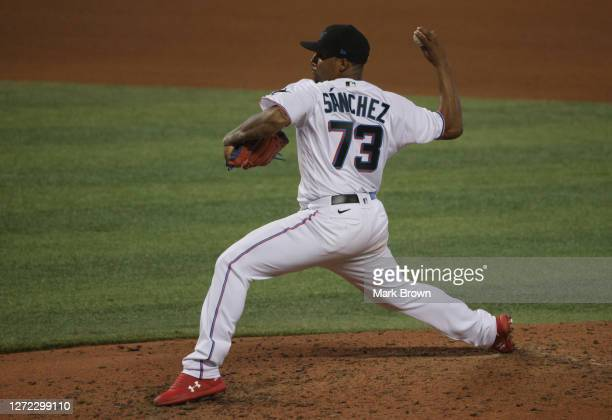 Sixto Sánchez of the Miami Marlins delivers a pitch in the seventh inning against the Philadelphia Phillies at Marlins Park on September 13, 2020 in...