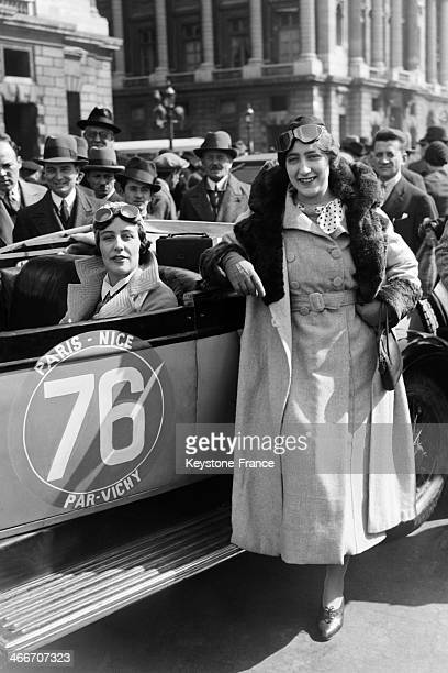 Sixty one motorists leave for Paris Nice race by Vichy on March 31 1933 in Paris France