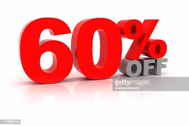 sixty percent off - number 60 stock photos and pictures