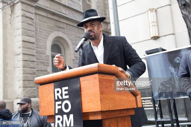 Sixx King attends Meek Mill supporters protest on day of status hearing at Philadelphia Criminal Justice Center on April 16 2018 in Philadelphia...