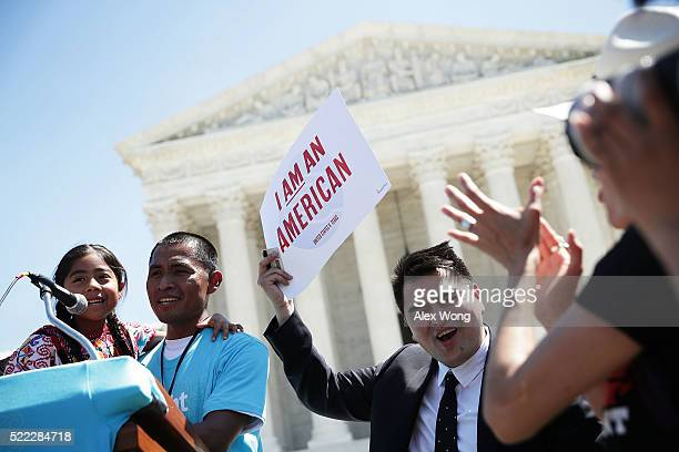Sixyearold Sophie Cruz speaks during a rally in front of the US Supreme Court next to her father Raul Cruz and supporter Jose Antonio Vargas April 18...